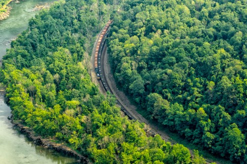 Two days after capturing the panoramic shot, I returned and caught this freight train working its way along the New River bank. What I could see was a long line of empty coal hoppers.