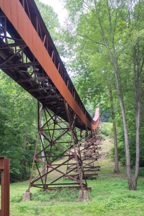 The large chute carried the coal from the mine up above on the hill down to the stipple, where the coal was loaded onto rail cars.